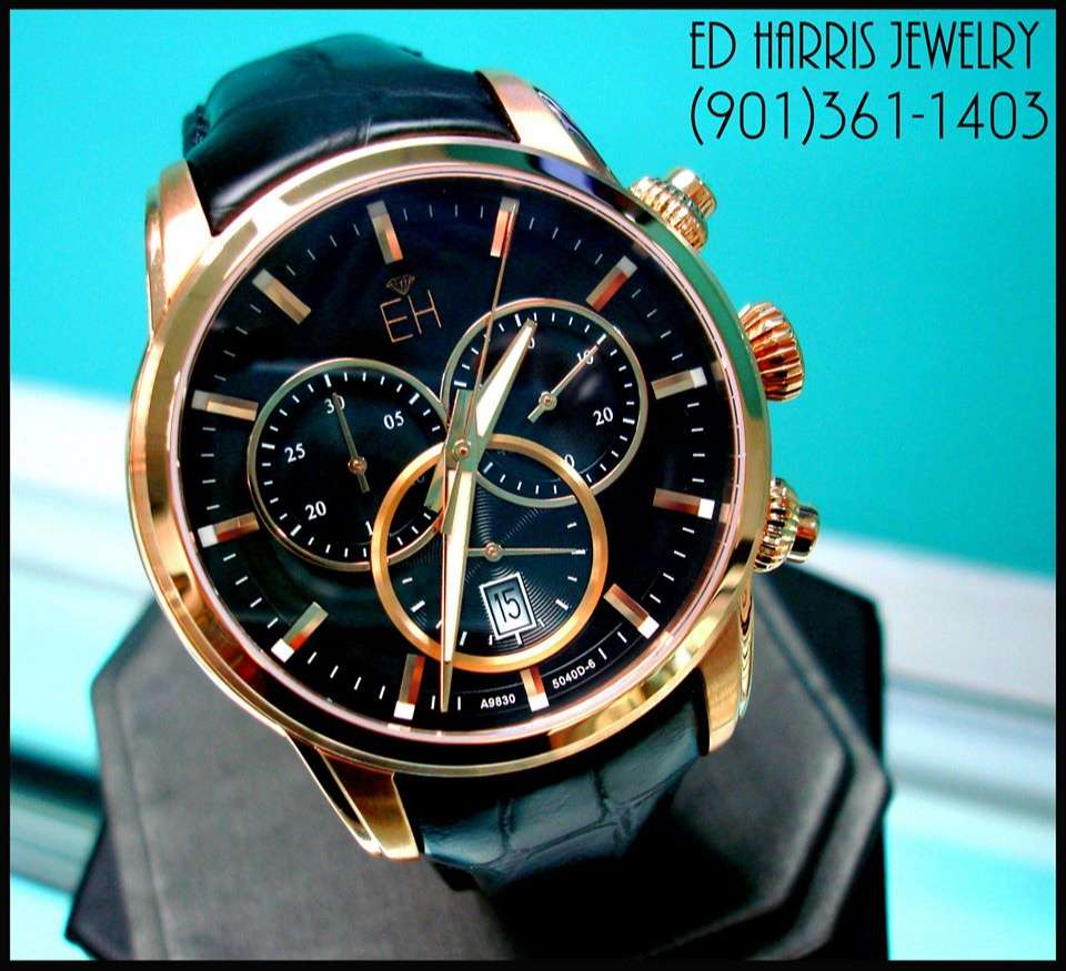 Sapphire Crystal (Scratch Resistant), Luminous Hands, Water Resistant (330 Feet), Swiss Chronograph, Stainless Steel. Sale Price: $450.00 (Black Leather Watch Case and 3 Year Warranty Included). — at Ed Harris Jewelry.